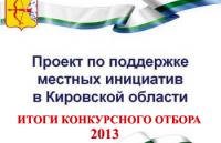 Итоги конкурсного отбора проектов по поддержке местных инициатив - 2013  по Унинскому району