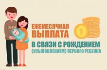 О предоставлении ежемесячной денежной выплаты в связи с рождением(усыновлении) первого ребенка.