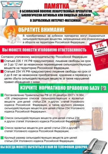 Памятка о безопасной покупке лекарственных препаратов, биологически активных или пищевых добавок в зарубежных интернет-магазинах