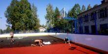 В селе Елгань строится  многофункциональная спортивная площадка